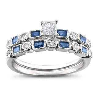 14k White Gold 3/4ct TGW White Diamond and Blue Sapphire Bridal Set (5 options available)