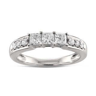 14k White Gold 5/8ct TDW 3-stone Diamond Wedding Band (H-I, I1)