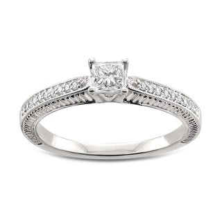 14k White Gold 1/2ct TDW Princess-cut White Diamond Engagement Ring (H-I, SI2-SI3)
