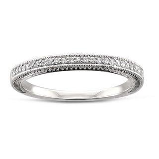 14k White Gold 1/8ct TDW White Diamond Floral Wedding Band (H-I, SI2-SI3