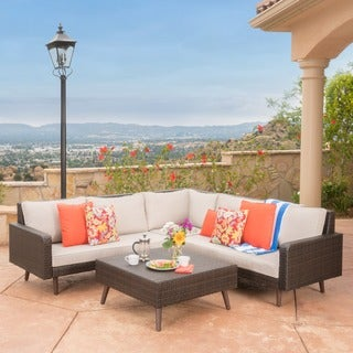 Tahiti Outdoor 4-piece Wicker Sectional Sofa Set with Cushions by Christopher Knight Home
