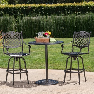 Arlana Outdoor 3-piece Aluminum Bar Set with Umbrella Hole by Christopher Knight Home