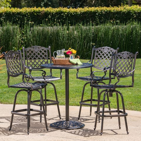 Arlana Outdoor 5-piece Aluminum Bar Set with Umbrella Hole by Christopher Knight Home