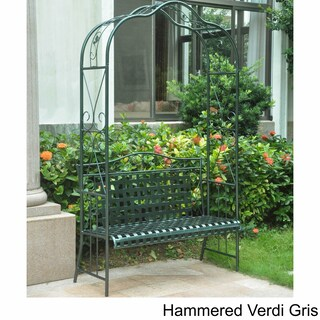International Caravan Mandalay Iron Arbor Bench (Option: Hammered Verdi Gris)