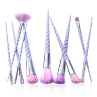 Zodaca Purple Spiral Unicorn Makeup Brush Set Tools with Raindow Bristles for Eyeshadow/ Foundation/ Concealer (Set of 10)
