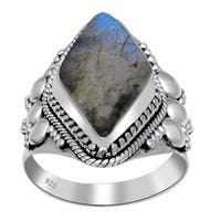 Orchid Jewelry 925 Sterling Silver 9 Carat Large Labradorite Ring
