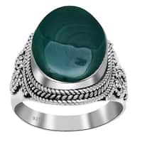 Orchid Jewelry 14 3/5 Carat Malachite 925 Sterling Silver Handmade Ring