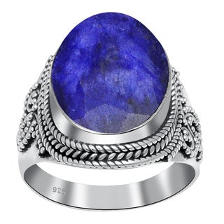 Orchid Jewelry 925 Sterling Silver 15 Carat Sapphire Ring
