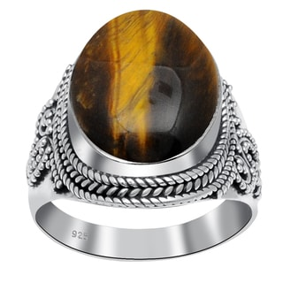 Orchid Jewelry 925 Sterling Silver 14 1/2 Carat Tigers Eye Ring