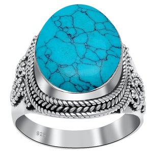 Orchid Jewelry 14 3/5 Carat Turquoise 925 Sterling Silver Ring