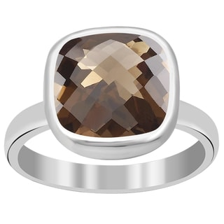 Orchid Jewelry 3 4/7 Carat Smoky Quartz 925 Sterling Silver Ring