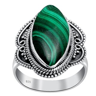 Orchid Jewelry 14 Carat Malachite 925 Sterling Silver Ring