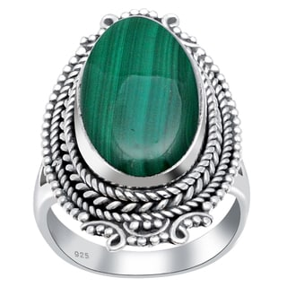 Orchid Jewelry 925 Sterling Silver 12 1/5 Carat Malachite Ring