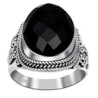 Orchid Jewelry 925 Sterling Silver 14 Carat Black Onyx Ring