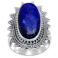 Orchid Jewelry 15 3/5 Carat Lapis Lazuli 925 Sterling Silver Handmade Ring