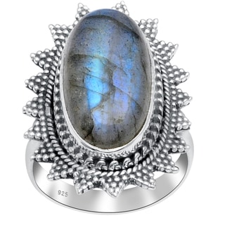 Orchid Jewelry 925 Sterling Silver 14 4/5 Carat Labradorite Ring