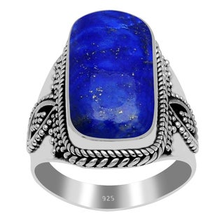 Orchid Jewelry 18 Carat Lapis 925 Sterling Silver Ring