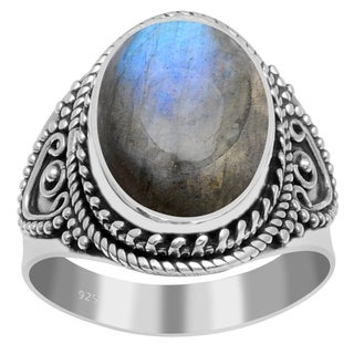 Orchid Jewelry 7 Carat Labradorite 925 Sterling Silver Ring