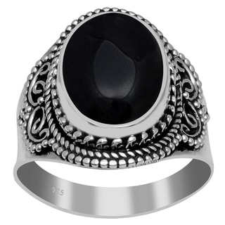 Orchid Jewelry 925 Sterling Silver 6 4/5 Carat Black Onyx Ring