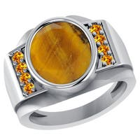 Orchid Jewelry Sterling Silver Father's Day Tigers Eye and Citrine Ring