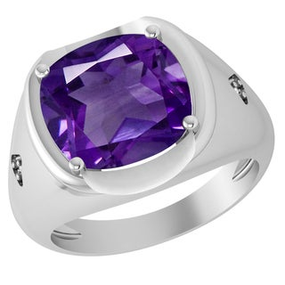 Orchid Jewelry Sterling Silver Father's Day Special Amethyst & Diamond Men's Ring