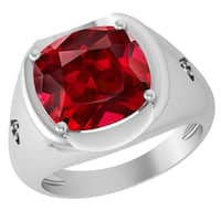 Orchid Jewelry Sterling Silver Father's Day Ruby and Diamond Ring