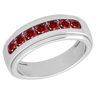 Orchid Jewelry Sterling Silver Father's Day Garnet Men's Band Ring