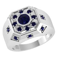 Orchid Jewelry Sterling Silver Father's Day Special Mens Blue Sapphire Ring