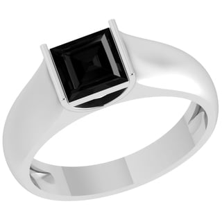 Orchid Jewelry Sterling Silver Father's Day Black Onyx Princess Cut Ring