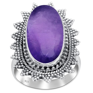 Orchid Jewelry 14 1/3 Carat Amethyst 925 Sterling Silver Ring