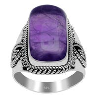 17.0 Carat Amethyst 925 Sterling Silver Handmade Cabochon Ring By Orchid Jewelry