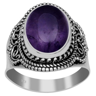 Orchid Jewelry 925 Sterling Silver 6 1/5 Carat Amethyst Ring