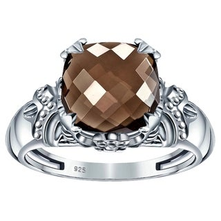 Natural Gemstone 3 45 Ctw Brown Smoky Quartz Sterling Silver Rings