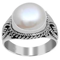 Orchid Jewelry 925 Sterling Silver 10 Carat Freshwater Pearl Ring