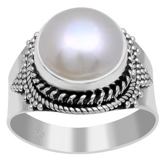 Orchid Jewelry 925 Sterling Silver 8 Carat Freshwater Pearl Ring