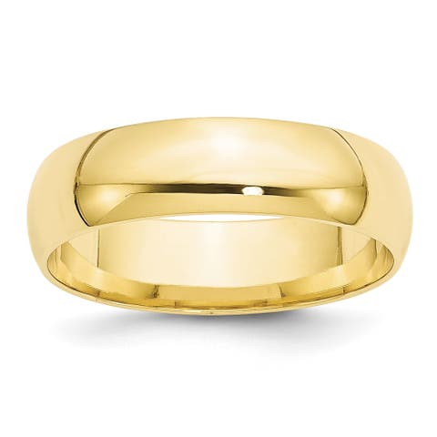 10K Yellow Gold Polished 6mm Lightweight Comfort Fit Band by Versil