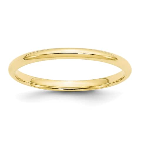 10K Yellow Gold 2mm Lightweight Comfort Fit Wedding Band by Versil