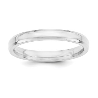 Sterling Silver 3mm Bevel Edge Band - White