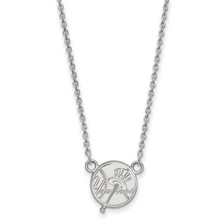 Sterling Silver New York Yankees Small Pendant With Necklace