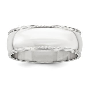 Sterling Silver 7mm Half Round Milgrain Band - White