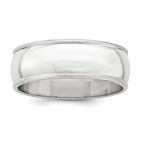 Sterling Silver 7mm Half Round Milgrain Band - White by Versil