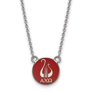 """Sterling Silver Alpha Chi Omega Extra Small Enamel Pendant W/18"""" Chain"""