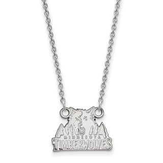 Sterling Silver Minnesota Timberwolves Small Pendant with Necklace