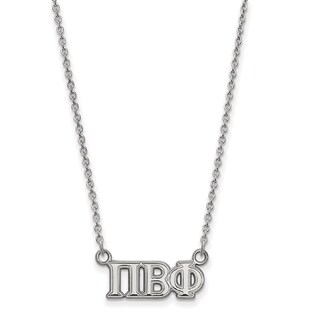 Sterling Silver Pi Beta Phi Medium Pendant With 18 inch Chain