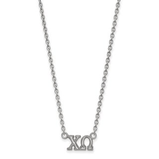 Sterling Silver Chi Omega Medium Pendant With 18 inch Chain