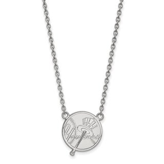Sterling Silver New York Yankees Large Pendant With Necklace