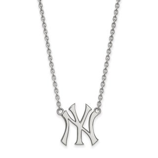 """Sterling Silver New York Yankees Large Pendant w/18"""" Chain"""