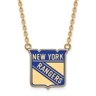 Sterling Silver with Gold Plating NHL LogoArt New York Rangers Large Enamel Pendant with Necklace
