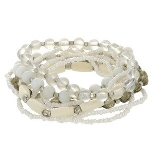 White & Smoke Beaded Stretch Bracelet Set