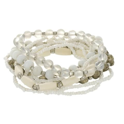 White & Smoke Beaded Stretch Bracelet Set